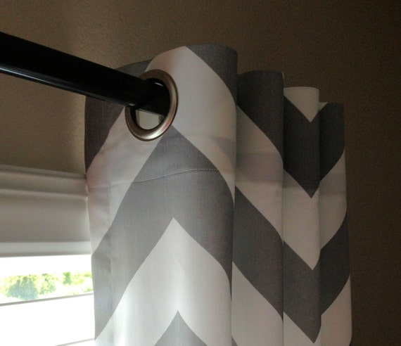 Gray And White Chevron Curtains Grommets 63 72 84 90 96 108