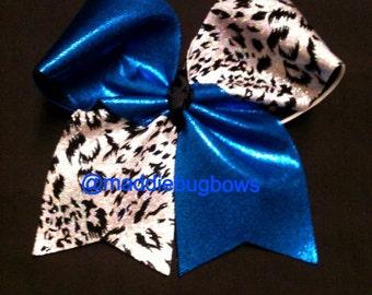 Royal Blue and Cheetah Cheer Bow