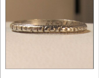 Antique Platinum Art Deco Engraved  Wedding Band inscribed 3-13-1932