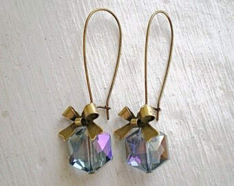 Purple and Smoke Blue Crystal Bow Earrings/Purple Earrings/Blue Earrings/Bow Earrings/Crystal Earrings/Hexagon Earrings/Bridesmaid Earrings