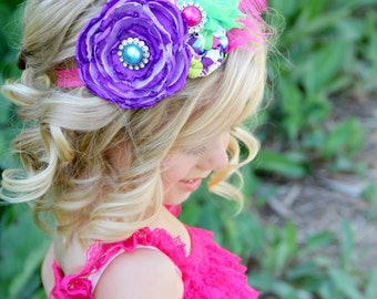 Summer Flower Headband  - Photo Prop - Newborn - Bridal - Handmade Flower - Shabby Chic