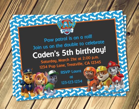 Items Similar To Paw Patrol Inspired Birthday Invitation