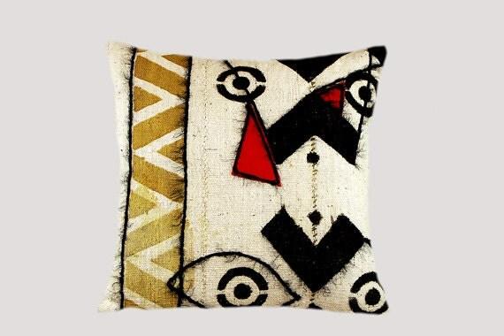 "Decorative Pillow, Burlap rough linen Throw pillow case with Abstract design,  fits 18""x18"" insert, Toss pillow case, Cushion case."