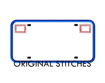 License Plate Applique and Machine Embroidery Digital Design File  4x4 5x7 6x10 8x12