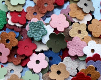 Leather flower die cuts  leather blossoms wholesale variety of colors DIY Pet, Cat, Dog Collar Applique genuine leather
