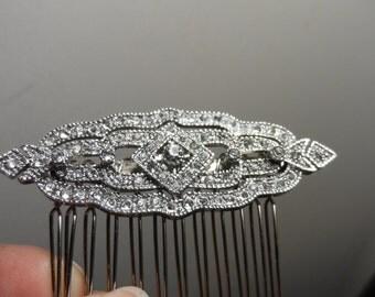 Silver Art deco hair comb wedding hair comb vintage hair comb bridal bridesmaid vintage victorian inspired rhinestone hair comb Gatsby comb
