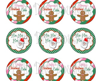 Candy cane cutie - 1 inch image sheets for bottle caps - perfect for Christmas
