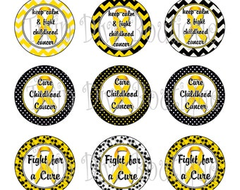 Cure Childhood Cancer - Yellow Gold Ribbon,Awareness - 1 inch image sheets for bottle caps -