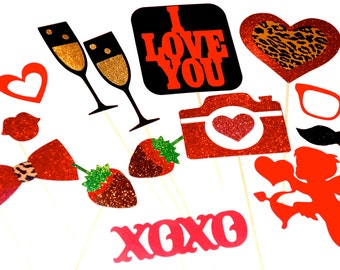 Sexy Valentine's Day Props with GLITTER - 14 piece set - Great Photobooth Props - Valentines Day Photo Booth Props -