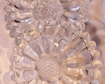 Hazel Atlas Daisy clear glass Candle Holders