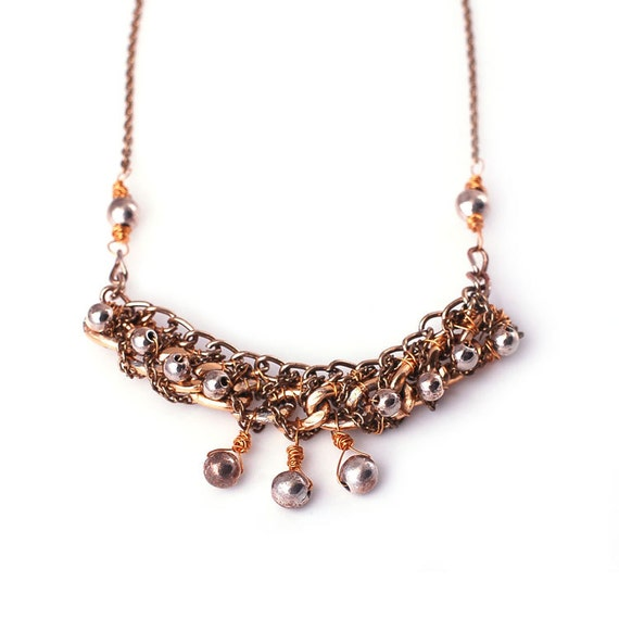 3 Drop Necklace Wire Wrapped with Reclaimed chains, 100% upcycled materials, gold, silver and gunmetal tones