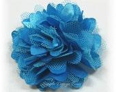 "Turquoise Hair Flower - Island Blue Flower Clip - Hair Clip or Brooch - 2"" MINI OLIVIA FLOWER - Satin Hair Flower"