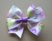 "Easter Hair Bow - Easter Eggs - 3"" Pinwheel Bow - Easter Egg Hair Bow - Pastel Hair Bow - Spring Hair Bow"