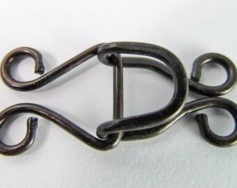 4 Vintage Two Strand Antiqued Black Hook Sets Cl73