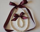Plum flower girl jewelry set adjustable necklace and stretchy bracelet with swarovski crystal balls wedding jewelry  flower girl