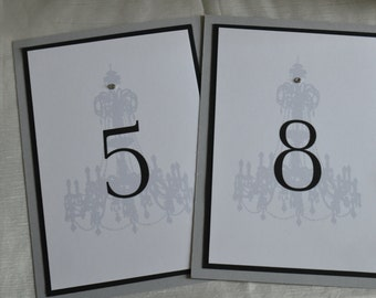 Beautiful Chandelier Table Number Cards