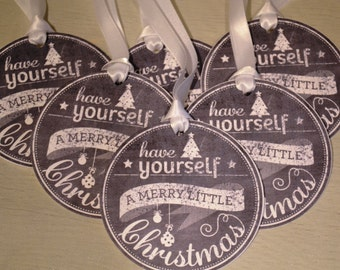 Chalkboard style Christmas Gift Tags - Have Yourself A Very Merry Christmas