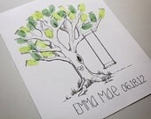Fingerprint Tree Guest Book – Hand Drawn, Customizable, and 100% Original Artwork