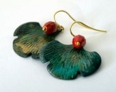 Rustic Verdigris Earrings - Leaf earrings with red glass - Red Green Earrings, Gold over Sterling Silver