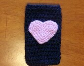 Charcoal Grey Cell Phone Cozy with Pink Heart for Galaxy 3 or 4