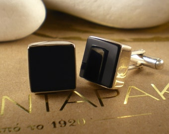 Black Onyx Solid Sterling Silver Cufflinks - FREE Shipping