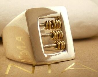 """Sterling Silver Ring with K18 Gold - """"Abacus"""""""