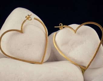 """Gold Plated Solid Sterling Silver Hoop Earrings - """"Outlined Heart"""""""
