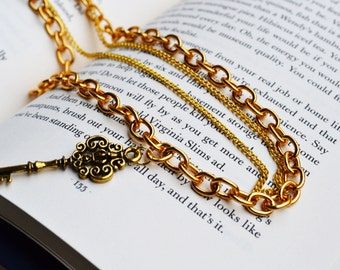 Golden Key Double Chained Necklace