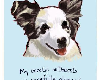 Australian Shepherd Puppy 5x7 Print of Original Painting with phrase