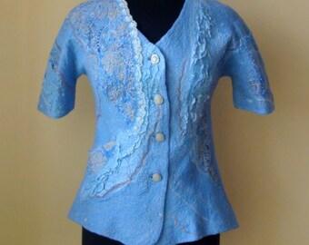 Nuno felted jacket, cardigan floral light blue beige