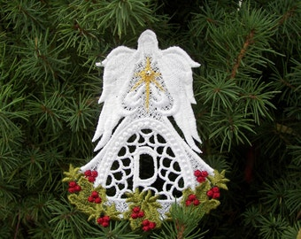 Angel Of Christmas Ornament Alphabet, Lace Angel Personalized Gift, with Swarovski crystal in the middle of Metallic Star