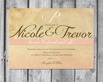 Simple Rustic Wedding Invitation Set