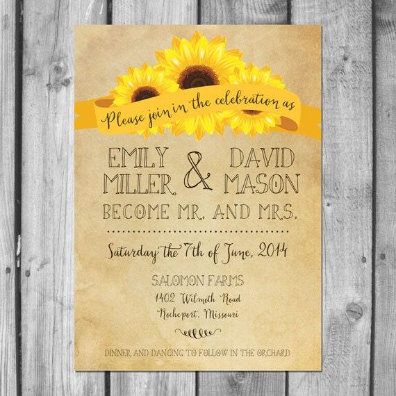 Rustic Sunflower Wedding Invitation Set