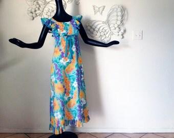 Vintage 1970s Hawaiian Hippie Prairie Dress Marsha Brady Bunch Mod Flower Sheer Ruffled Maxi Dress Pinafore Style Size Extra Small XS