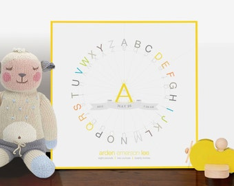 Alphabet Typography Color Wheel Birth Print 10x10 wood mounted modern nursery graphic . yellow children decor