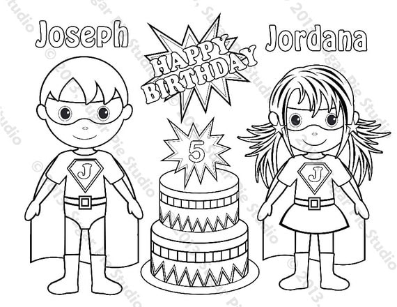 personalized birthday coloring pages | Personalized Printable Twins SuperHero Super by SugarPieStudio