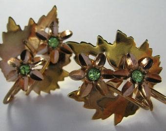 Vintage Daisy Leaf Earrings -  Brass -Colored - Screwbacks