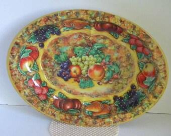 Vintage Daher Tin Bowl Fruit Pattern Made in England