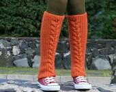 Pumpkin Wool Leg Warmers - Boot Socks - Cable Knit in Persimmon - Boot Cuffs - Winter Fashion - Women and Teens Accessories - Boot Socks