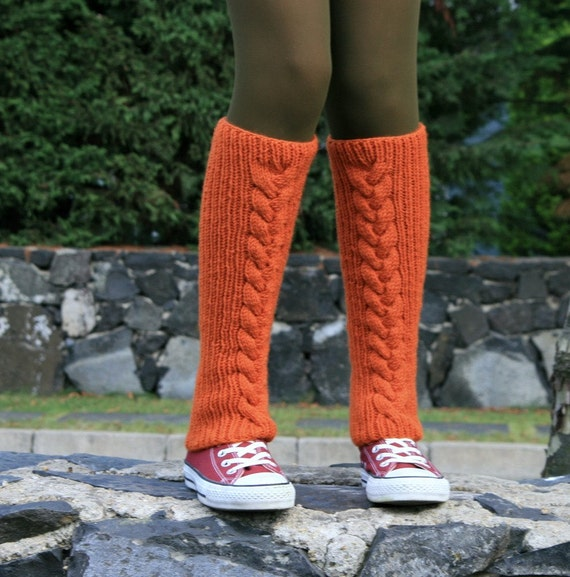Pumpkin Wool Leg Warmers - Boot Socks - Cable Knit in Persimmon - Boot Cuffs - Winter Fashion - Women and Teens Accessories - Boot Socks
