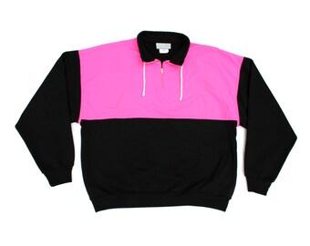Rad 90s Neon Nylon / Cotton Combo Pullover - XL / XXL