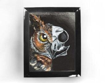 Owl Skull Print, Bird Art, Gothic Decor, Halloween Decoration, Bird of Prey, Any Size, Horned Owl, Goth Gift, Animal Portrait, Taxidermy