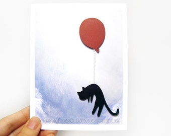 Paper Cut Card, Black Cat Art, Red Balloon, Anniversary Card, Personalized Card, Valentines Day, Blank Greeting Card