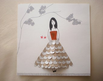 Framed Mixed Media Illustration for a girl - Collage - Ink