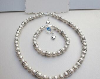 Flower Girl,  3 pc SET Necklace, Bracelet and Earrings in Swarovski Crystal, flower girl gift, flower girl Jewellery
