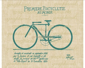French Bicycle 3 colors Blue Green Red Digital download image for iron on fabric transfer burlap decoupage pillows tags No. 1881