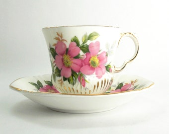 Vintage Royal Adderley tea cup and saucer - Canadian Provincial Flowers Prairie Rose teacup saucer set