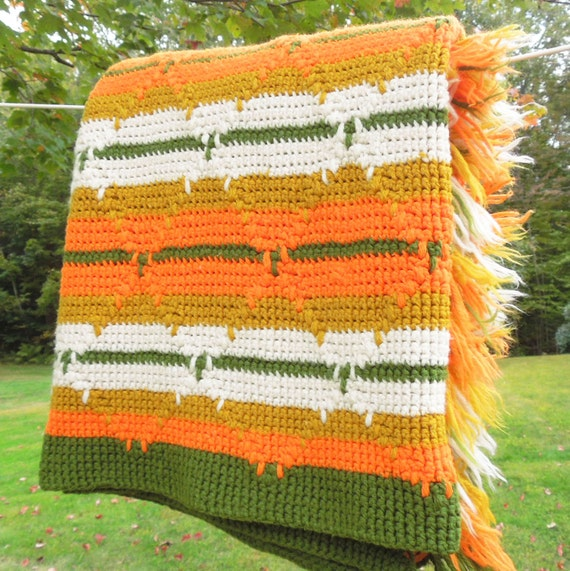 Vintage 70s Yellow Daisy Flower Afghan Throw Blanket Flower: Vintage Crochet Afghan Blanket Throw In Orange Green White
