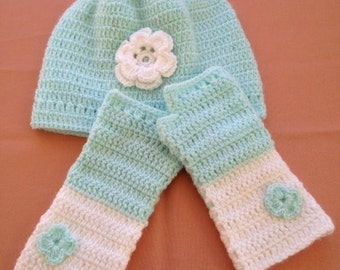 Little Princess Hat & Mittens Set for 2 to 3-Year-Old Girls
