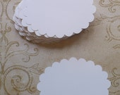 24 White Scallop Oval Shapes / Labels - Die Cut pieces from cardstock paper 4 DIY Wedding Tags Candy Buffet Best Wishes Labels Crafts Cards